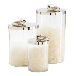 "Brooke Modern Polished Silver Metal Canister - 7""H 
