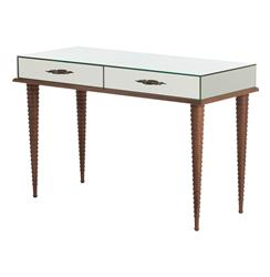 Saba Waxed Solid Walnut Hollywood Regency Mirrored Vanity Table | Kathy Kuo Home