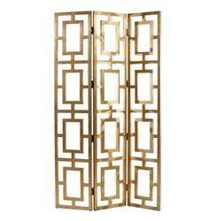 Gilded Hollywood Regency Gold Wood Open Floor Screen