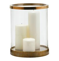 Bogart Modern Antique Brass Clear Glass Candle Hurricane | ART-2060