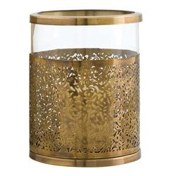 "Benton Modern Antique Brass Laser Cut Metal Hurricane Candle Holder - 11""H 