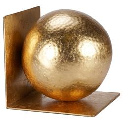 Ronan Modern Classic Gold Hammered Ball Bookends - Pair