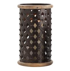 Fallon Tall Modern Rustic Misson Dark Iron Lattice Hurricane Candle Holder | ART-2648