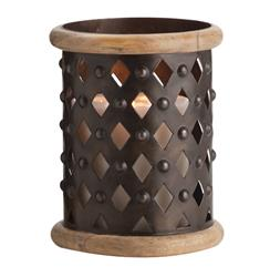 Fallon Small Modern Rustic Misson Dark Iron Lattice Hurricane Candle Holder