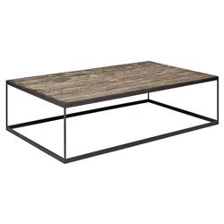 Amelia Modern Classic Black Metal Base Rectangular Brown Oak Coffee Table