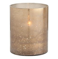Hagar Small Glass Speckled Gold Modern Hurricane Candle Holder | ART-2782