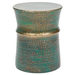 Brian Rustic Lodge Antique Brass Green Steel Round Stool
