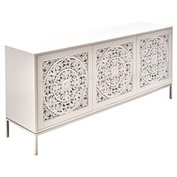 Charlotte Modern Classic 3-Door High Gloss White Sideboard