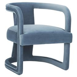Demy Modern Classic Upholstered Velvet Living Room Accent Chair - Dust Blue