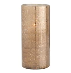 Hagar Tall Glass Speckled Gold Modern Hurricane Candle Holder | Kathy Kuo Home