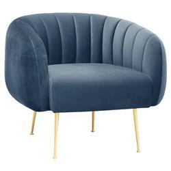 Elena Regency Light Blue Upholstered Gold Stainless Steel Tufted Barrel Arm Chair