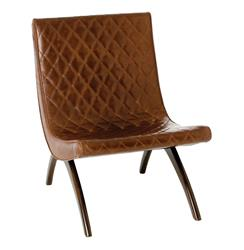 Arteriors Danforth Mid Century Modern Chestnut Quilted Leather Chair