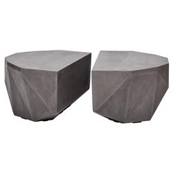 Lily Modern Classic Dark Grey Geometric Outdoor Coffee Table - Set of 2
