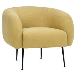 Ruby Modern Black Metal Legs Upholstered Living Room Barrel Chair - Yellow