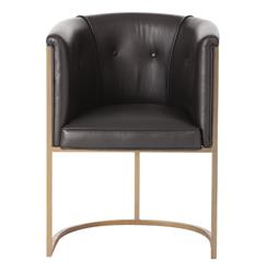 Arteriors Calvin Top Grain Black Leather Art Deco Accent Dining Chair