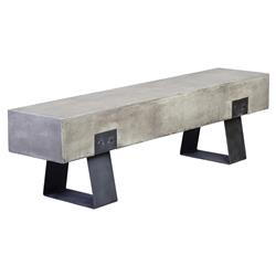 Savannah Modern Classic Black Stainless Steel Base Grey Outdoor Bench