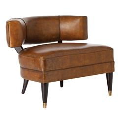 Arteriors Laurent Mid Century Modern Mottled Brown Leather Lounge Wing Chair