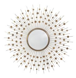 """Orlon Modern Aged Brass Convex Starburst Round 36""""D Mirror"""