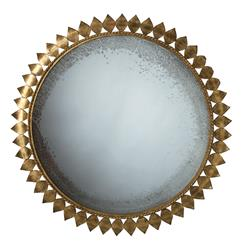 Farrah Modern Gold Leaf Metal Sunburst Antique Mirror