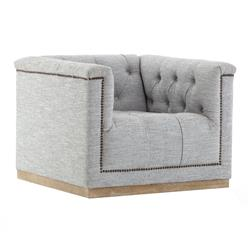 Stefie Modern Classic Button Tufted Upholstered Grey Swivel Arm Chair