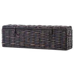 Brenna Global Bazaar Leather Accent Woven Rattan Trunk - Black Wash