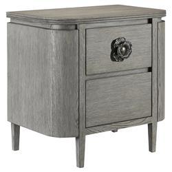Charlotte Modern Classic Elegant Rectangular Grey Oak Nightstand