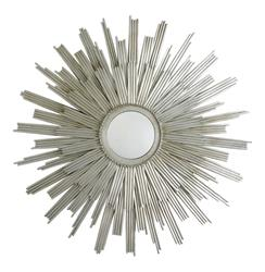 Galaxy Modern Deco Silver Starburst Rays Mirror