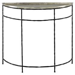 Finlay Industrial Loft Silver Top Iron Demilune Console Table