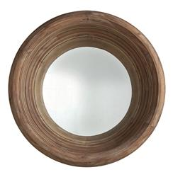 """Modern Rustic Solid Acacia Wood 40""""D Deep Convex Mirror"""