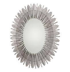 Bassett Modern Silver Leaf Tubes Oval Iron Mirror