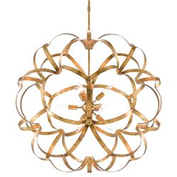 Melville Hollywood Regency Aged Gold Orb Ribbon Chandelier