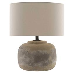 Vivian Industrial Loft Round Beige Linen Shade Grey Concrete Table Lamp