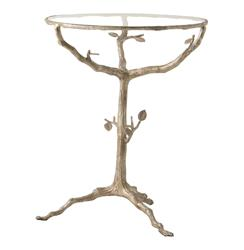 Sherwood Sculpted Tree Branch Light Gold Pedestal Side Table