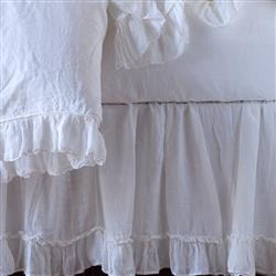 Bella Notte Linen Whisper French Country  White Bed Skirt - Full/Queen