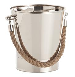 Willow Contemporary Polished Nickel Nautical Rope Wine Cooler | ART-6708