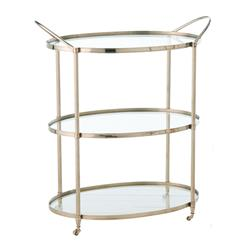 Connaught Polished Nickel Oval Modern Bar Serving Cart | ART-3077