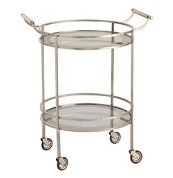 Wade Contemporary Art Deco Silver Glass Round Bar Cart | ART-6748