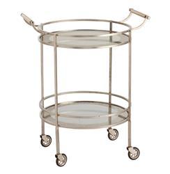Wade Contemporary Art Deco Silver Glass Round Bar Cart