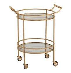 Wade Contemporary Art Deco Gold Glass Round Bar Cart | ART-6752