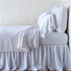 Bella Notte Silk French Country Velvet Quilted Queen Coverlet - White Queen