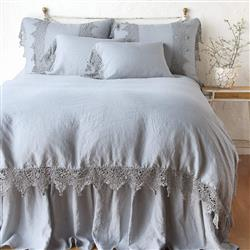 Bella Notte Frida French Country Mineral Blue Linen Lace Duvet Cover - Queen