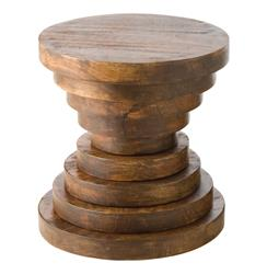 Modern Rustic Large Chunky Round Wood End Accent Table - B