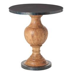 Everett Wood Oxidized Iron Modern Round Pedestal End Table