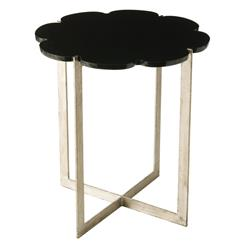 Hayden Black Scalloped Marble Silver Base Modern Side Table