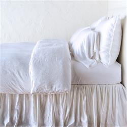 Bella Notte Paloma French Country White Silk Duvet Cover - Queen