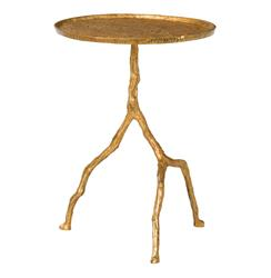 Forest Park Antique Gold Hammered Iron Sculpted Side Table