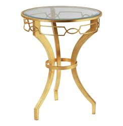 Hollywood Regency Gold Leaf Link Iron End Table