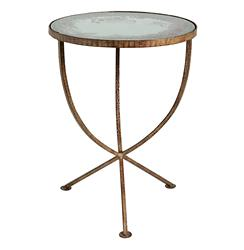 Sojourn Contemporary Antique Mirror Round Accent Side Table