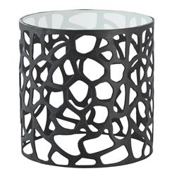 Ennis Modern Black Metal Web Glass Side End Table