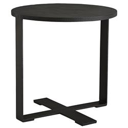 Modernist Industrial Hammered Iron Folding Tray Round End Table